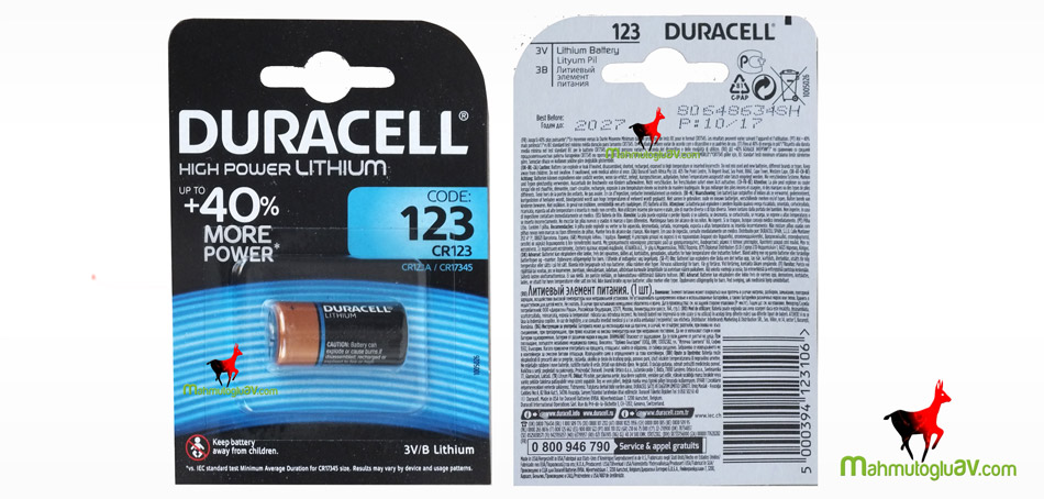 Duracell CR123 A high power  3V/B orijinal Lityum pil